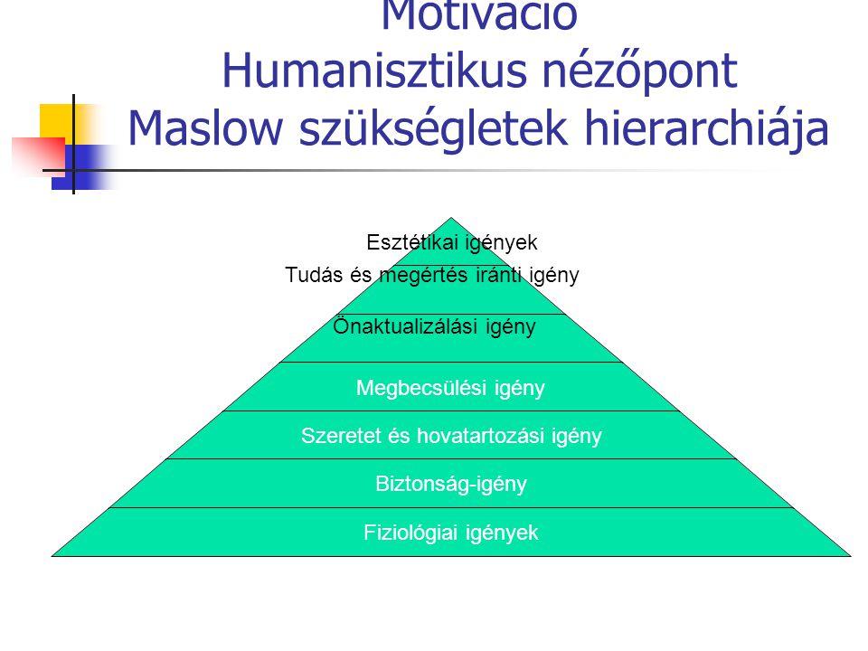 Motiváció Humanisztikus nézőpont Maslow szükségletek hierarchiája Esztétikai igények Megbecsülési igény Szeretet és hovatartozási igény Biztonság-igén