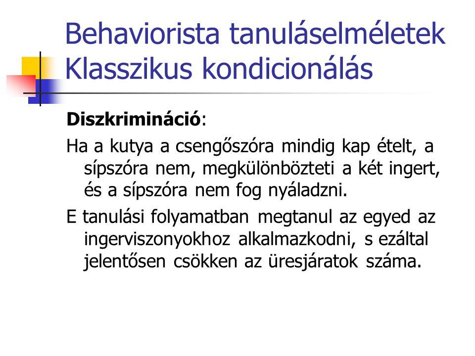 Behaviorista tanuláselméletek Operáns kondicionálás Alaphelyzet: Skinner kísérlete: a boxban a patkánynak egy pedált kell lenyomnia.