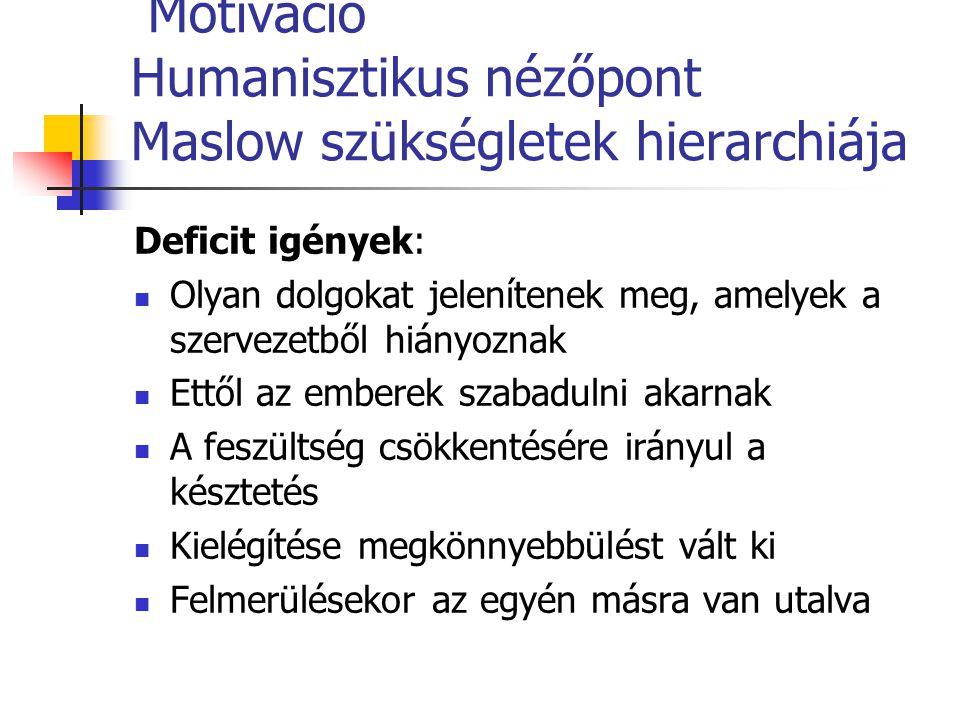 Motiváció Humanisztikus nézőpont Maslow szükségletek hierarchiája Deficit igények: Olyan dolgokat jelenítenek meg, amelyek a szervezetből hiányoznak E