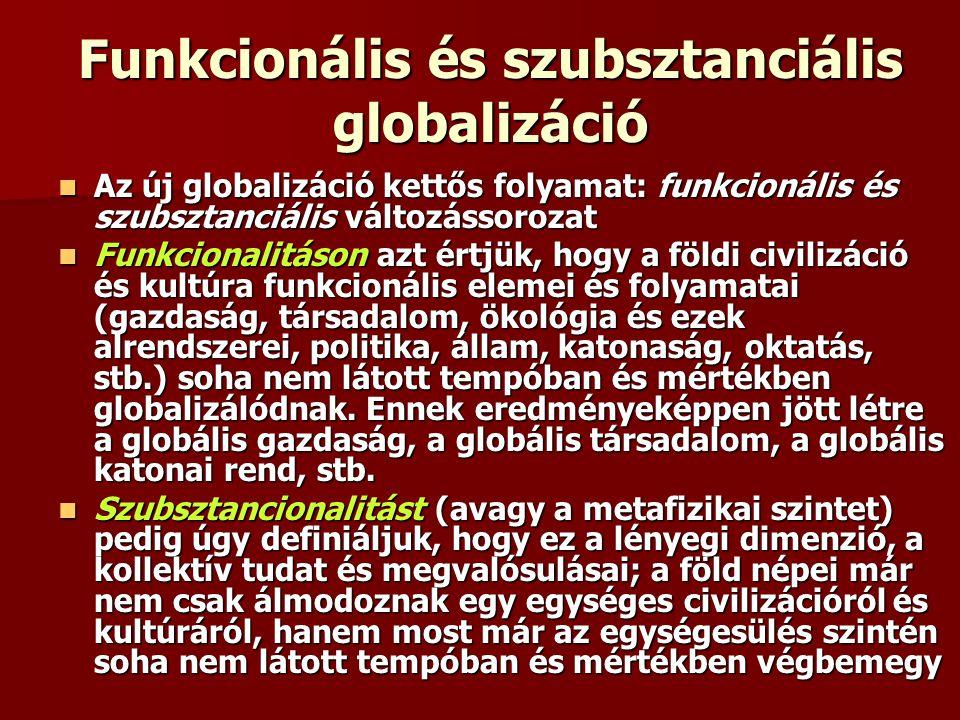 Funkcionális és szubsztanciális globalizáció Az új globalizáció kettős folyamat: funkcionális és szubsztanciális változássorozat Az új globalizáció ke