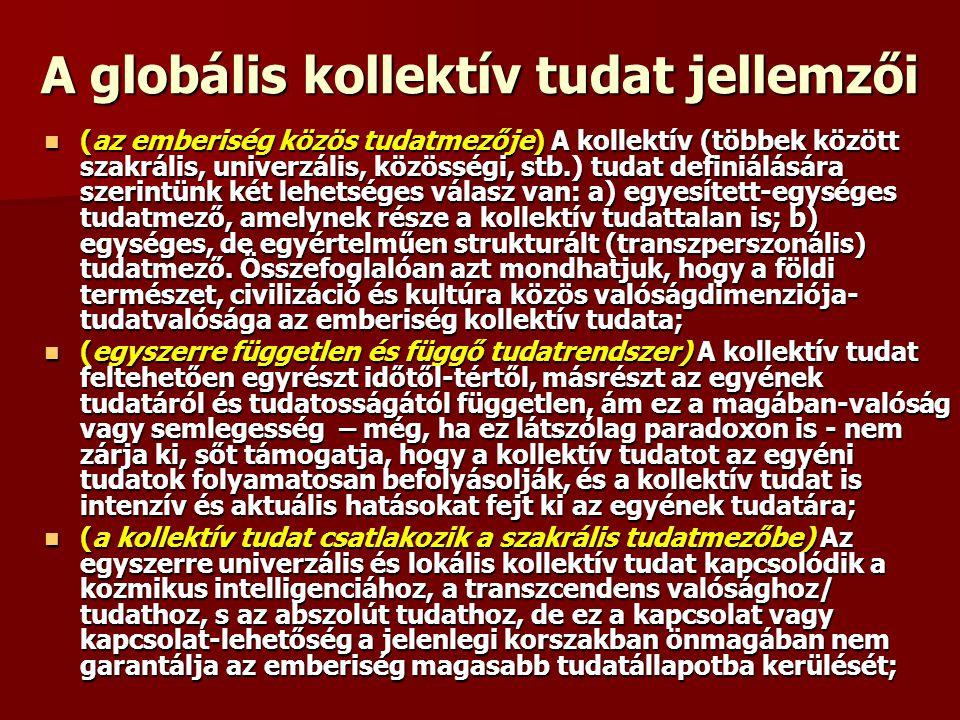 A globális kollektív tudat jellemzői (az emberiség közös tudatmezője) A kollektív (többek között szakrális, univerzális, közösségi, stb.) tudat defini