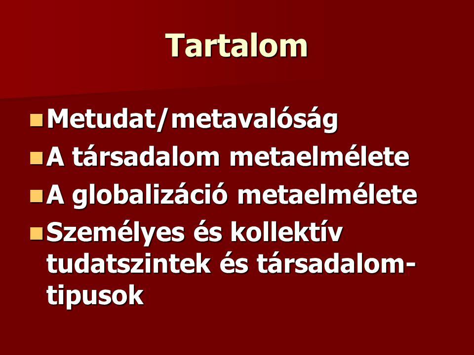 Tartalom Metudat/metavalóság Metudat/metavalóság A társadalom metaelmélete A társadalom metaelmélete A globalizáció metaelmélete A globalizáció metael