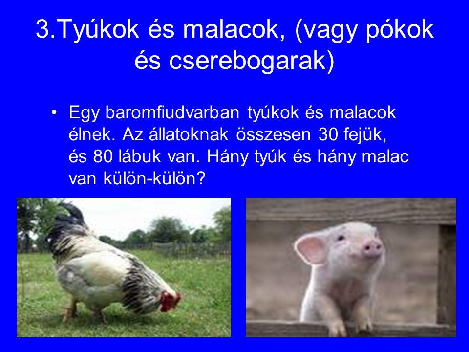 3.Tyúkok és malacok, (vagy pókok és cserebogarak) Egy baromfiudvarban tyúkok és malacok élnek. Az állatoknak összesen 30 fejük, és 80 lábuk van. Hány