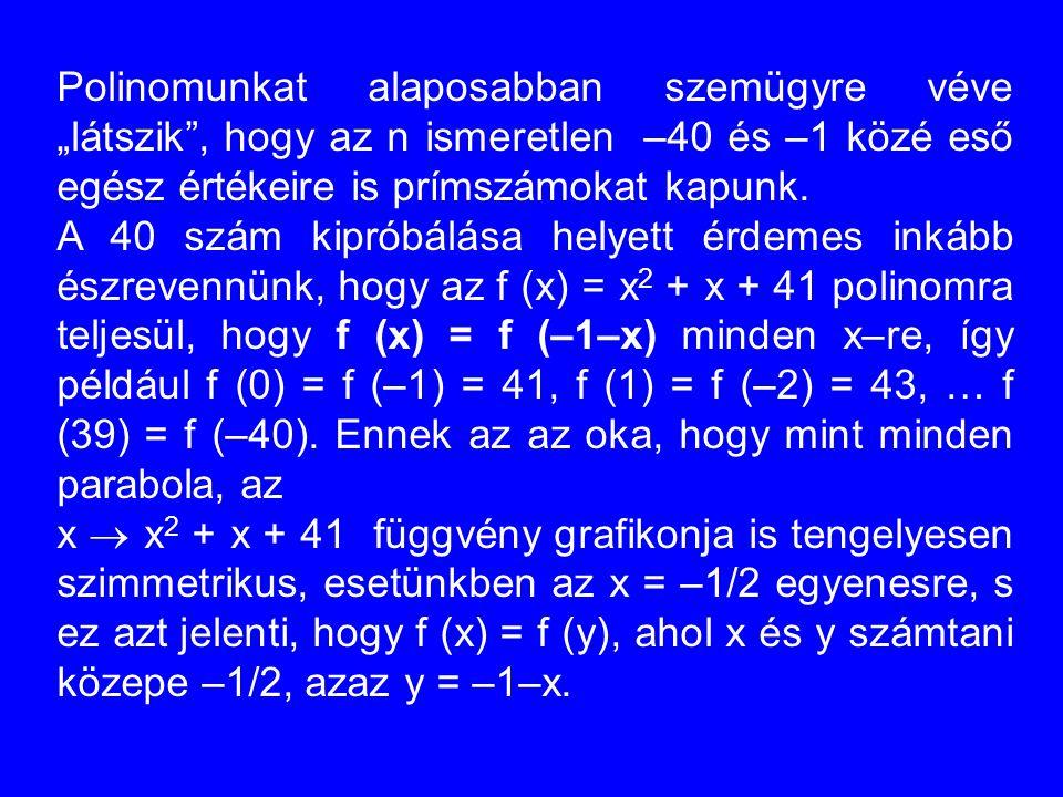 """Polinomunkat alaposabban szemügyre véve """"látszik"""", hogy az n ismeretlen –40 és –1 közé eső egész értékeire is prímszámokat kapunk. A 40 szám kipróbálá"""
