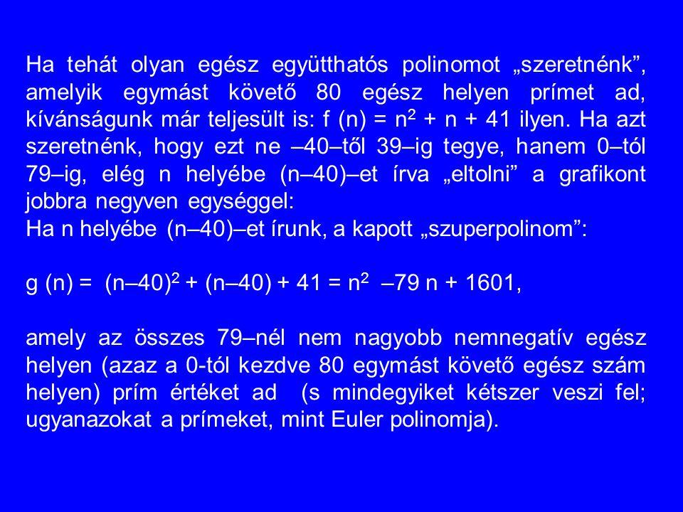 """Ha tehát olyan egész együtthatós polinomot """"szeretnénk"""", amelyik egymást követő 80 egész helyen prímet ad, kívánságunk már teljesült is: f (n) = n 2 +"""