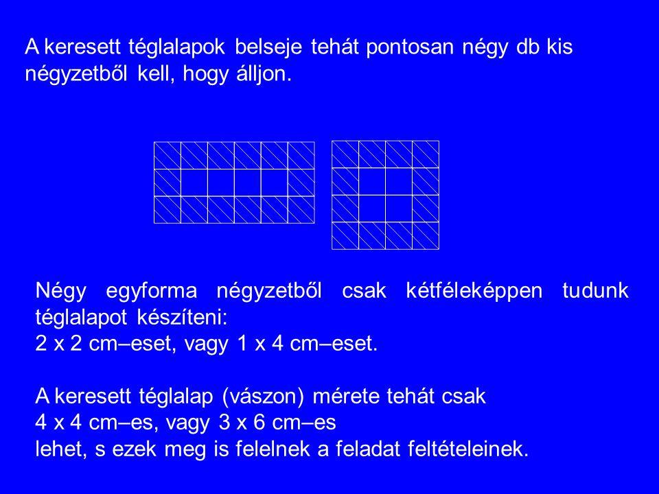 A keresett téglalapok belseje tehát pontosan négy db kis négyzetből kell, hogy álljon. Négy egyforma négyzetből csak kétféleképpen tudunk téglalapot k
