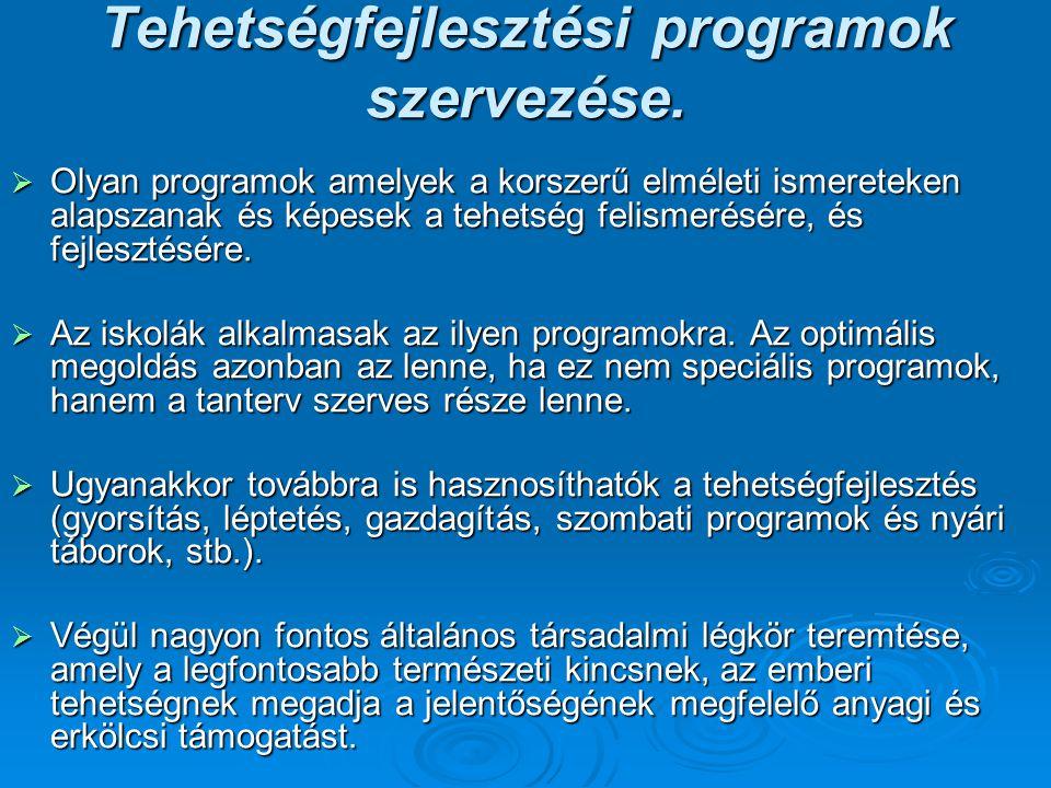 Tehetségfejlesztési programok szervezése.  Olyan programok amelyek a korszerű elméleti ismereteken alapszanak és képesek a tehetség felismerésére, és