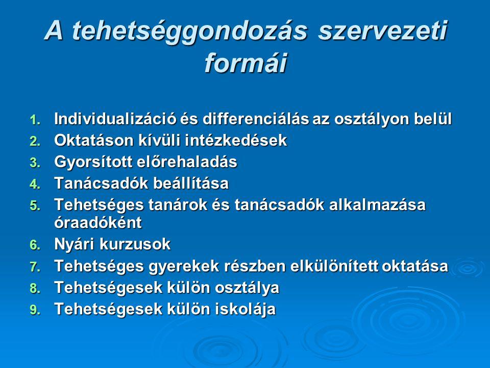 A tehetséggondozás szervezeti formái 1. Individualizáció és differenciálás az osztályon belül 2. Oktatáson kívüli intézkedések 3. Gyorsított előrehala