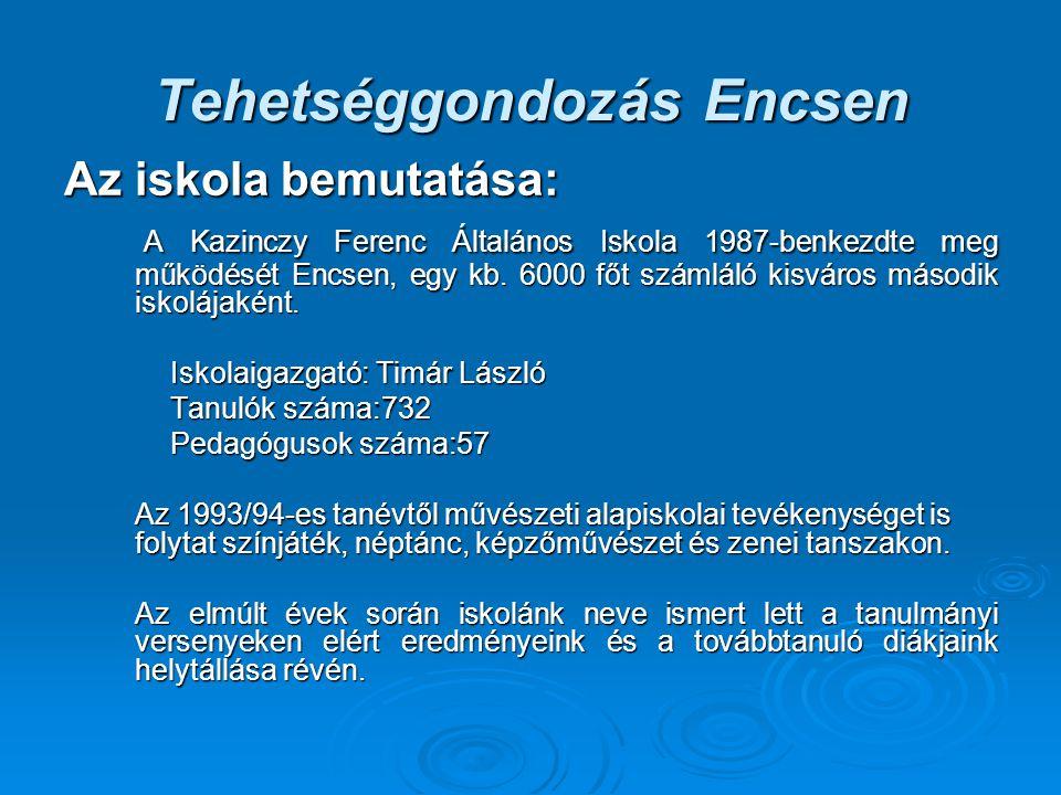Tehetséggondozás Encsen Az iskola bemutatása: A Kazinczy Ferenc Általános Iskola 1987-benkezdte meg működését Encsen, egy kb. 6000 főt számláló kisvár