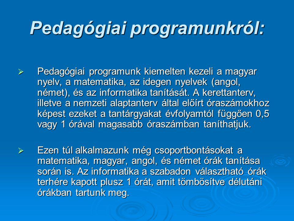 Pedagógiai programunkról:  Pedagógiai programunk kiemelten kezeli a magyar nyelv, a matematika, az idegen nyelvek (angol, német), és az informatika t
