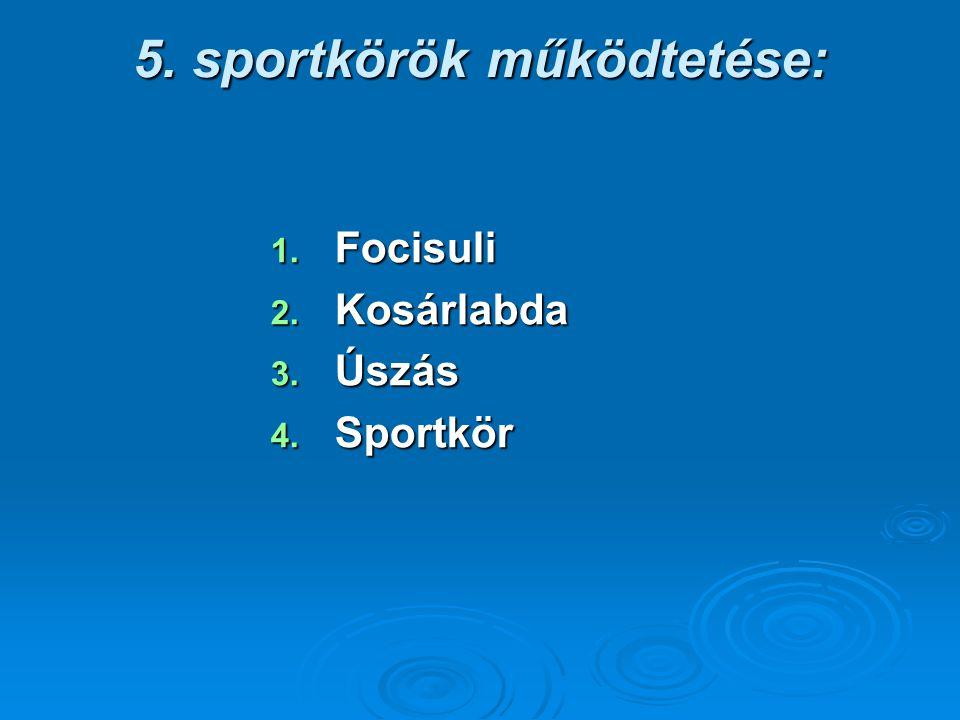 5. sportkörök működtetése: 1. Focisuli 2. Kosárlabda 3. Úszás 4. Sportkör
