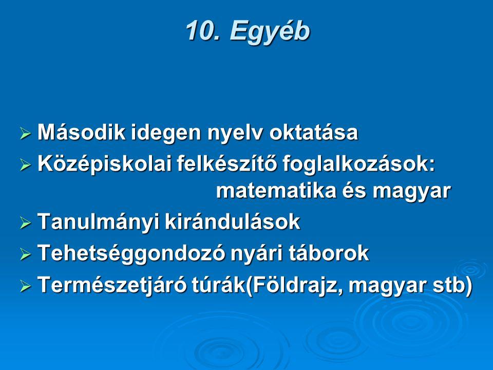 10. Egyéb  Második idegen nyelv oktatása  Középiskolai felkészítő foglalkozások: matematika és magyar  Tanulmányi kirándulások  Tehetséggondozó ny