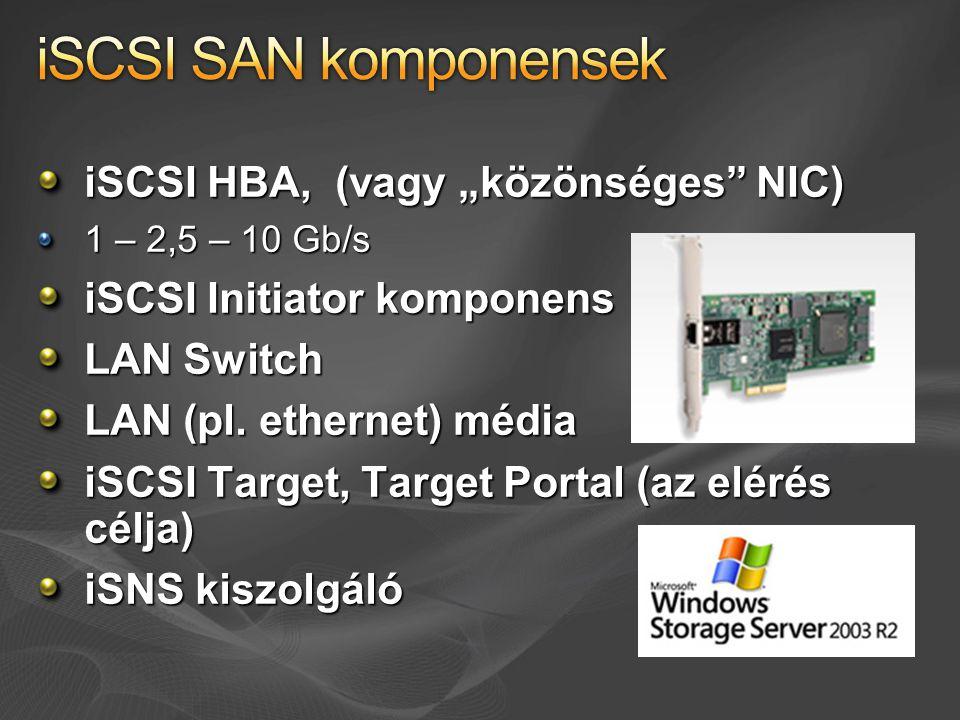 """iSCSI HBA, (vagy """"közönséges NIC) 1 – 2,5 – 10 Gb/s iSCSI Initiator komponens LAN Switch LAN (pl."""