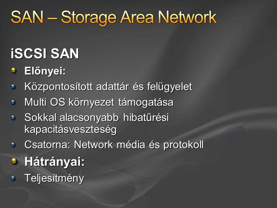 iSCSI SAN Előnyei: Központosított adattár és felügyelet Multi OS környezet támogatása Sokkal alacsonyabb hibatűrési kapacitásveszteség Csatorna: Network média és protokoll Hátrányai:Teljesítmény