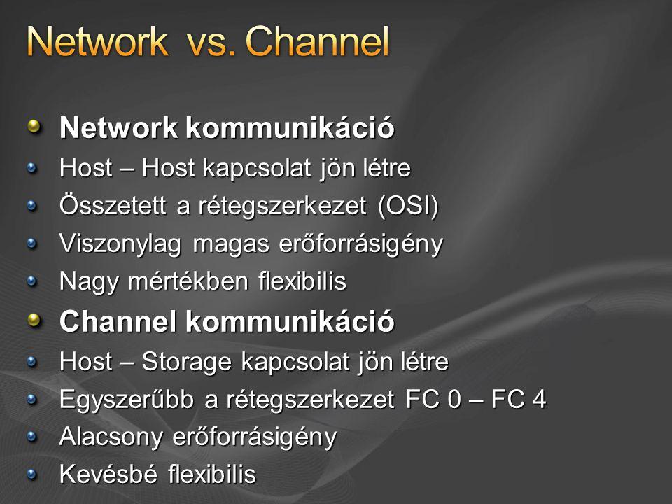 Network kommunikáció Host – Host kapcsolat jön létre Összetett a rétegszerkezet (OSI) Viszonylag magas erőforrásigény Nagy mértékben flexibilis Channel kommunikáció Host – Storage kapcsolat jön létre Egyszerűbb a rétegszerkezet FC 0 – FC 4 Alacsony erőforrásigény Kevésbé flexibilis