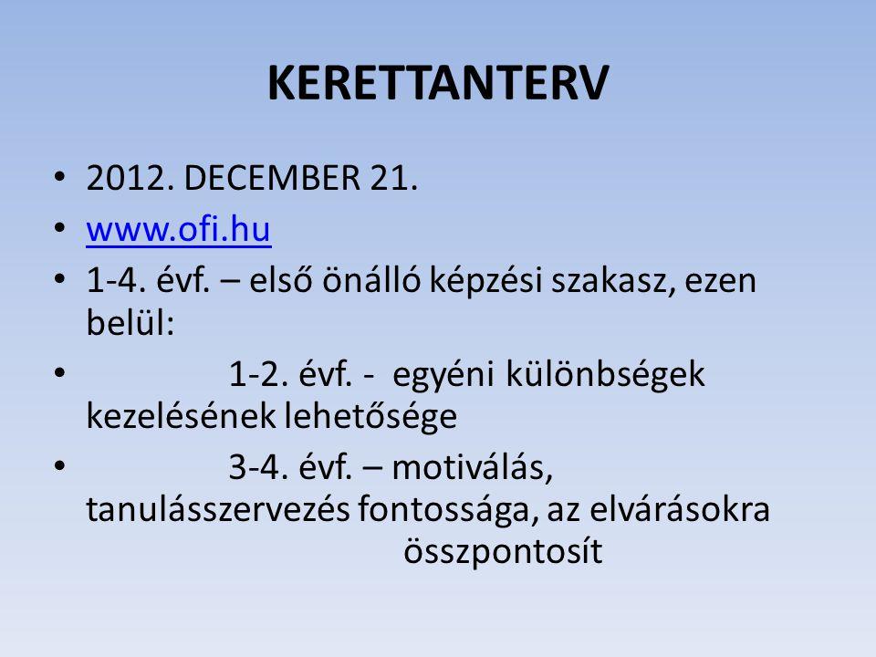KERETTANTERV 2012. DECEMBER 21. www.ofi.hu 1-4. évf. – első önálló képzési szakasz, ezen belül: 1-2. évf. - egyéni különbségek kezelésének lehetősége