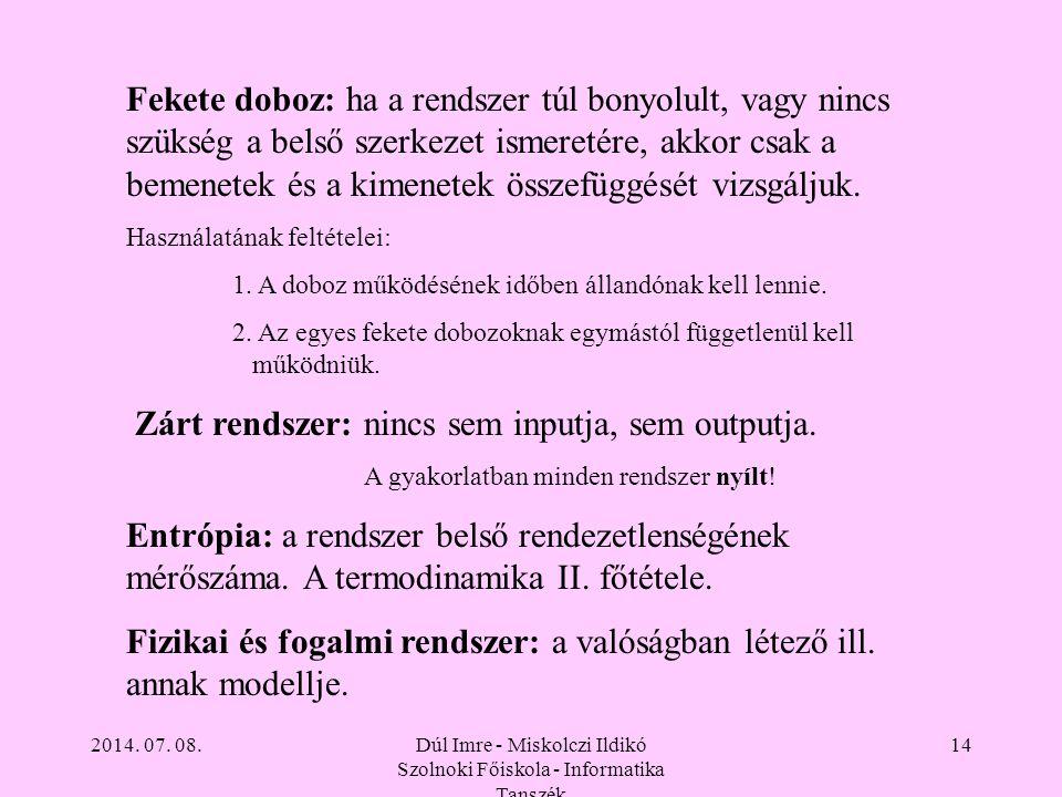 2014. 07. 08.Dúl Imre - Miskolczi Ildikó Szolnoki Főiskola - Informatika Tanszék 14 Fekete doboz: ha a rendszer túl bonyolult, vagy nincs szükség a be