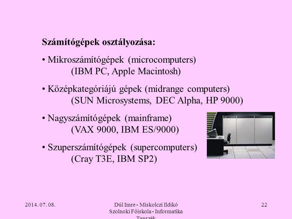 2014. 07. 08.Dúl Imre - Miskolczi Ildikó Szolnoki Főiskola - Informatika Tanszék 22 Számítógépek osztályozása: Mikroszámítógépek (microcomputers) (IBM