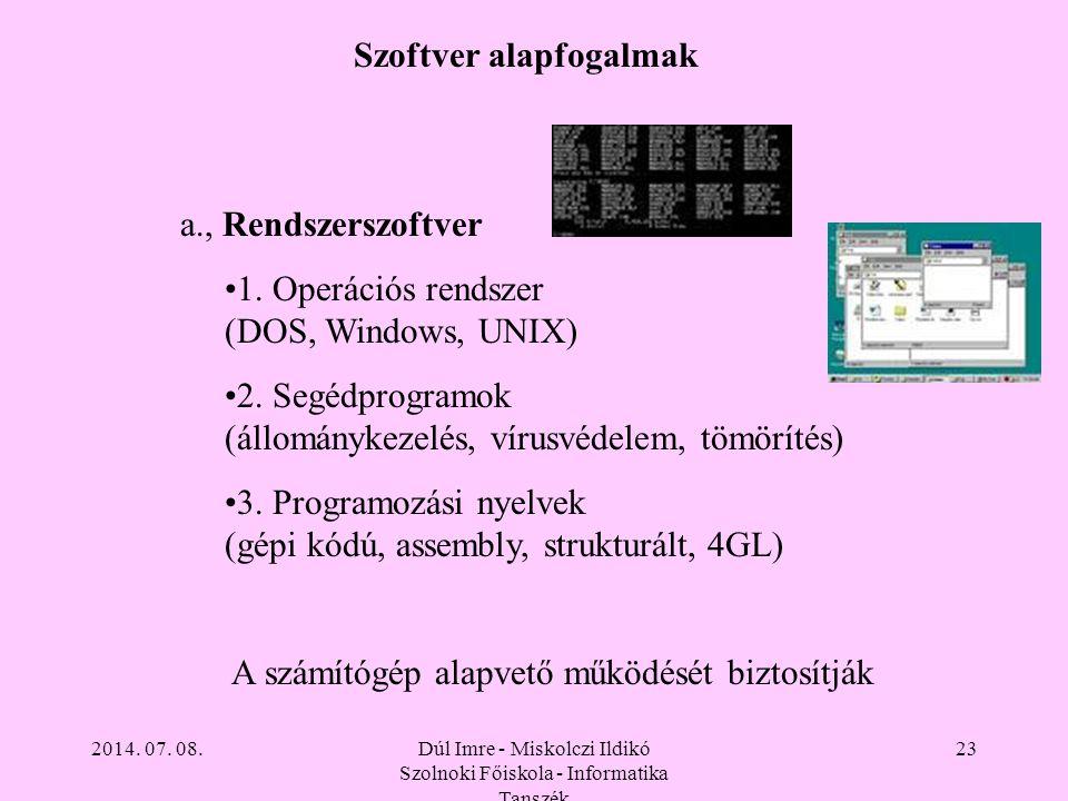 2014. 07. 08.Dúl Imre - Miskolczi Ildikó Szolnoki Főiskola - Informatika Tanszék 23 Szoftver alapfogalmak a., Rendszerszoftver 1. Operációs rendszer (