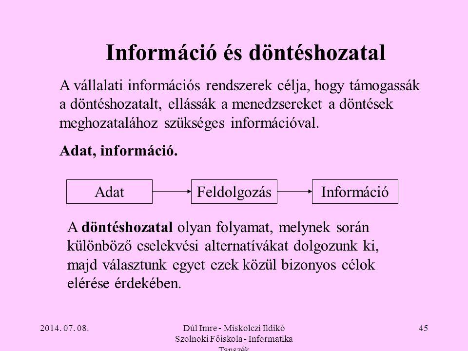 2014. 07. 08.Dúl Imre - Miskolczi Ildikó Szolnoki Főiskola - Informatika Tanszék 45 Információ és döntéshozatal A vállalati információs rendszerek cél