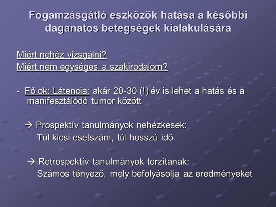 Kombinált orális fogamzásgátlókés jóindulatú daganatok Kockázat-haszon aránya: Valószínűsített / részben bizonyított kockázatnövekedés: - Hepatocelluláris adenoma - FNH (fokális noduláris hyperplasia) - Prolaktinoma Valószínűsített / részben bizonyított kockázatcsökkenés: - Benignus emlőelváltozások (progesztogén komponens hatása) (progesztogén komponens hatása) - Leiomyoma (progeszteron túlsúlyú tablettáknál) (progeszteron túlsúlyú tablettáknál)
