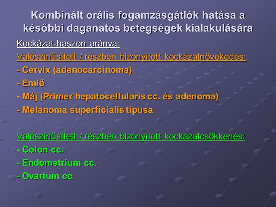 OAC és colon cc.Kockázatcsökkenés.