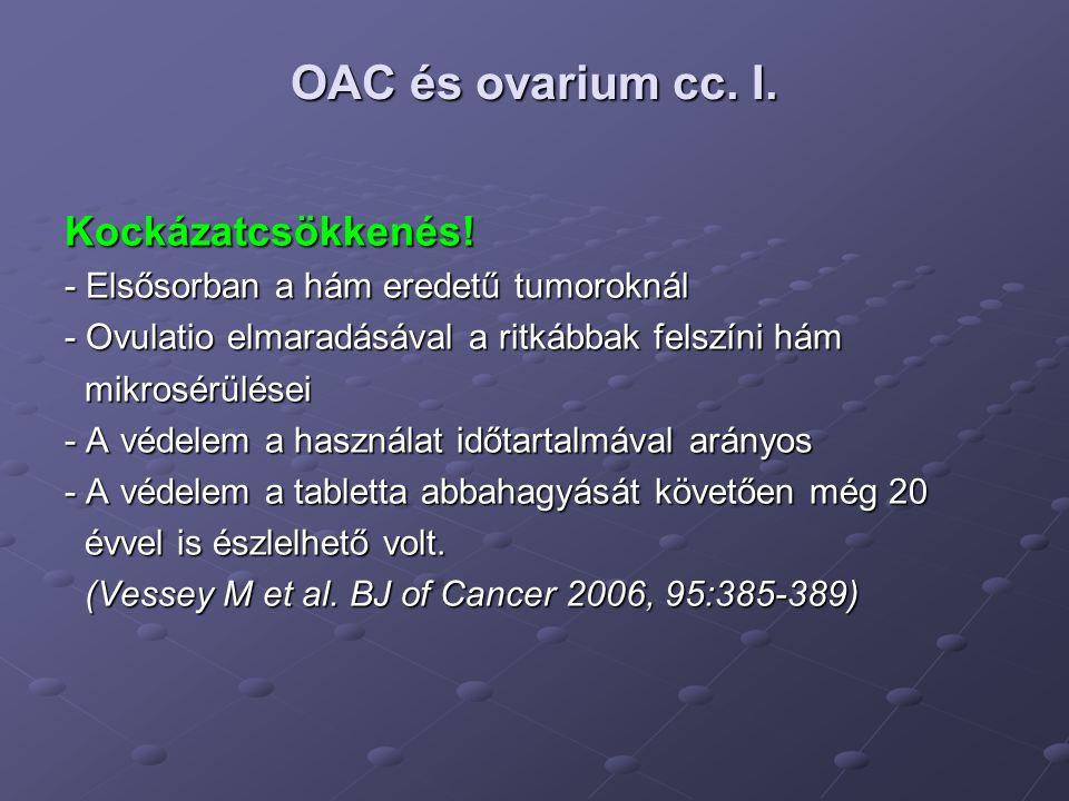 OAC és ovarium cc.II. Kockázatcsökkenés.