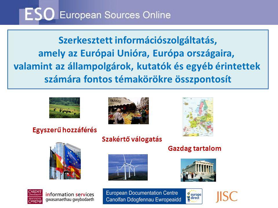 Távoli hozzáférés Az ESO többféle módszerrel is biztosítja rendszer távoli elérését Többfelhasználós hozzáférés Az ESO előfizetés feljogosítja több felhasználó hozzáférésére az előfizető szervezet hálózatán Használati statisztikák Elérhetőek az Ön szervezetének ESO használati statisztikái Kattintson a Librarian's Resources pontra a főoldalon Az ESO egy angol nyelvű szolgáltatás, mely hozzáférést kínál információkhoz, véleményekhez és nézőpontokhoz szerte Európából