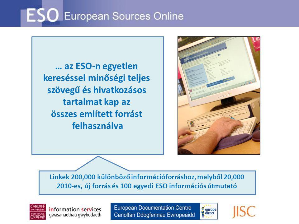 … az ESO-n egyetlen kereséssel minőségi teljes szövegű és hivatkozásos tartalmat kap az összes említett forrást felhasználva Linkek 200,000 különböző