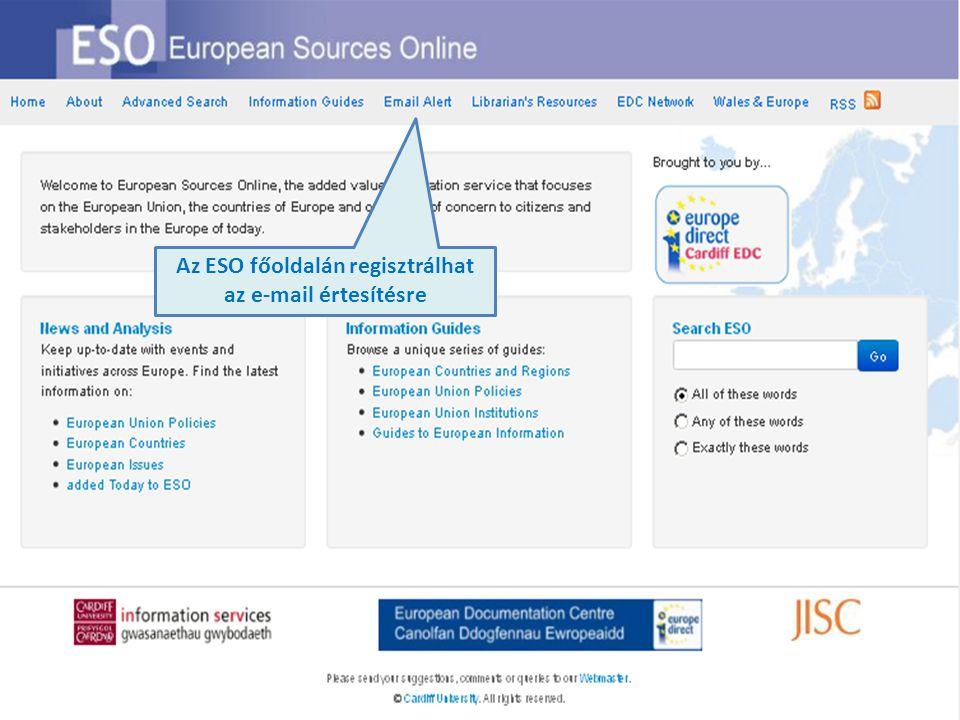 Az ESO főoldalán regisztrálhat az e-mail értesítésre