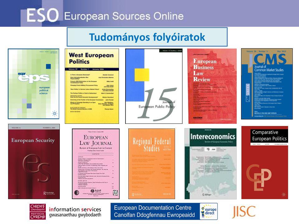 Európai Unió – Intézmények A ESO-n minden jogalkotási javaslat és sok más COM dokumentum fellelhető Kövesse a javaslatokkal kapcsolatos fejleményeket az ESO által felkínált PreLex link segítségével Jogalkotási dokumentumok A kapcsolódó SEC dokumentumok szintén elérhetőek az ESO-n