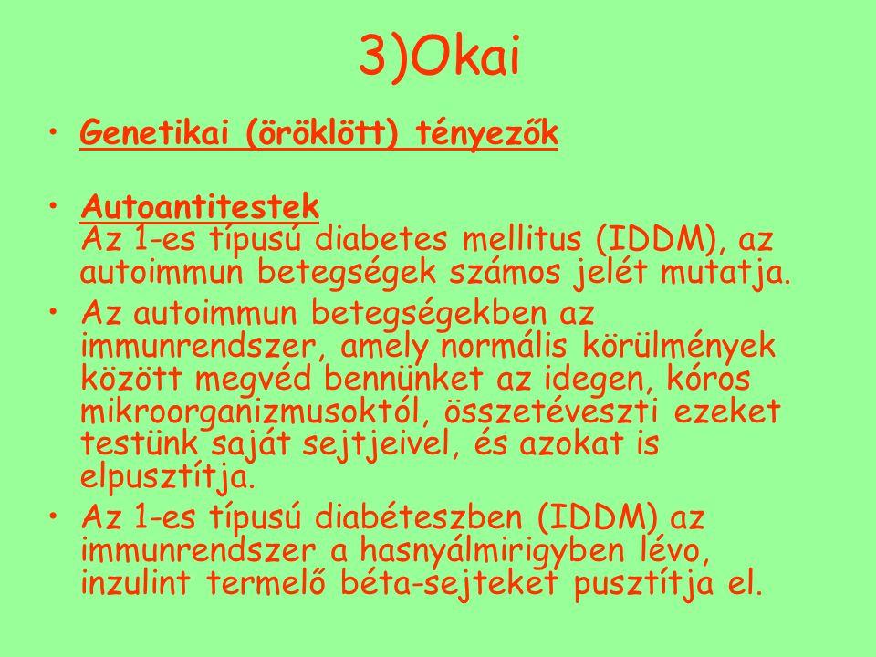 3)Okai Genetikai (öröklött) tényezők Autoantitestek Az 1-es típusú diabetes mellitus (IDDM), az autoimmun betegségek számos jelét mutatja. Az autoimmu