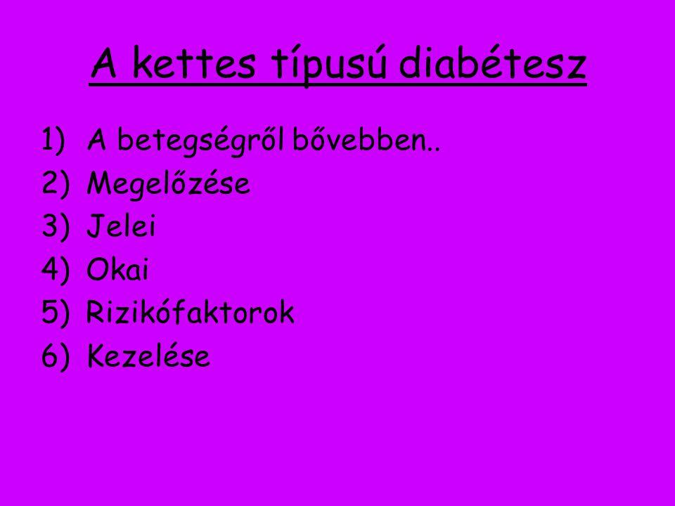 A kettes típusú diabétesz 1)A betegségről bővebben.. 2)Megelőzése 3)Jelei 4)Okai 5)Rizikófaktorok 6)Kezelése