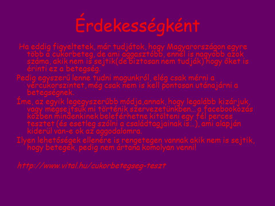 Érdekességként Ha eddig figyeltetek, már tudjátok, hogy Magyarországon egyre több a cukorbeteg, de ami aggasztóbb, ennél is nagyobb azok száma, akik n