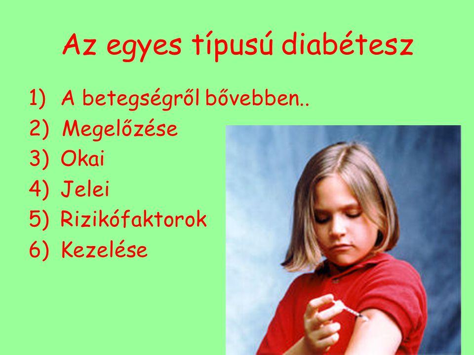Az egyes típusú diabétesz 1)A betegségről bővebben.. 2) Megelőzése 3)Okai 4)Jelei 5)Rizikófaktorok 6)Kezelése