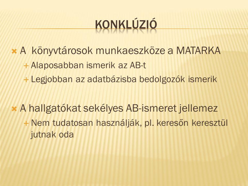  A könyvtárosok munkaeszköze a MATARKA  Alaposabban ismerik az AB-t  Legjobban az adatbázisba bedolgozók ismerik  A hallgatókat sekélyes AB-ismeret jellemez  Nem tudatosan használják, pl.