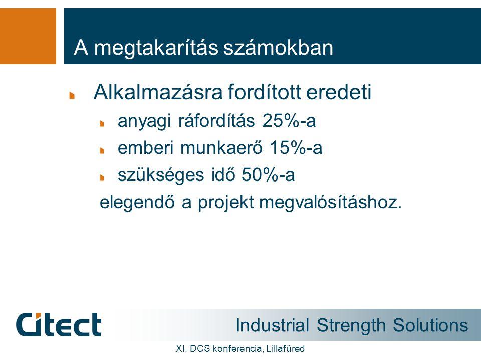 Industrial Strength Solutions XI. DCS konferencia, Lillafüred A megtakarítás számokban Alkalmazásra fordított eredeti anyagi ráfordítás 25%-a emberi m