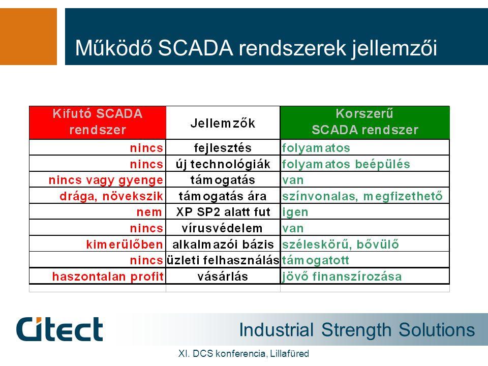 Industrial Strength Solutions XI. DCS konferencia, Lillafüred Működő SCADA rendszerek jellemzői