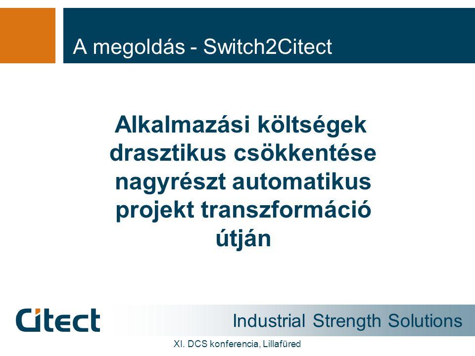 Industrial Strength Solutions XI. DCS konferencia, Lillafüred A megoldás - Switch2Citect Alkalmazási költségek drasztikus csökkentése nagyrészt automa