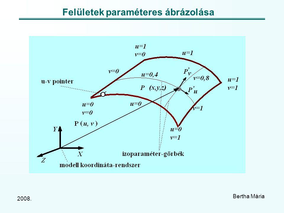 2008. Bertha Mária Felületek paraméteres ábrázolása