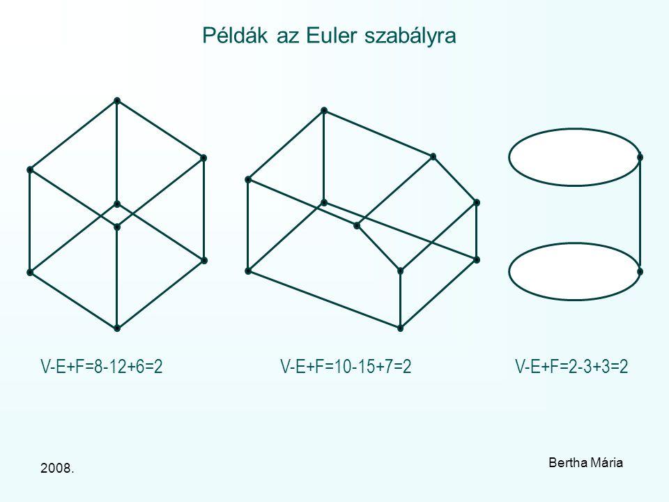 2008. Bertha Mária Példák az Euler szabályra V-E+F=8-12+6=2V-E+F=10-15+7=2V-E+F=2-3+3=2