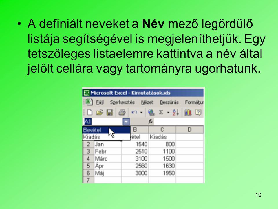 10 A definiált neveket a Név mező legördülő listája segítségével is megjeleníthetjük.