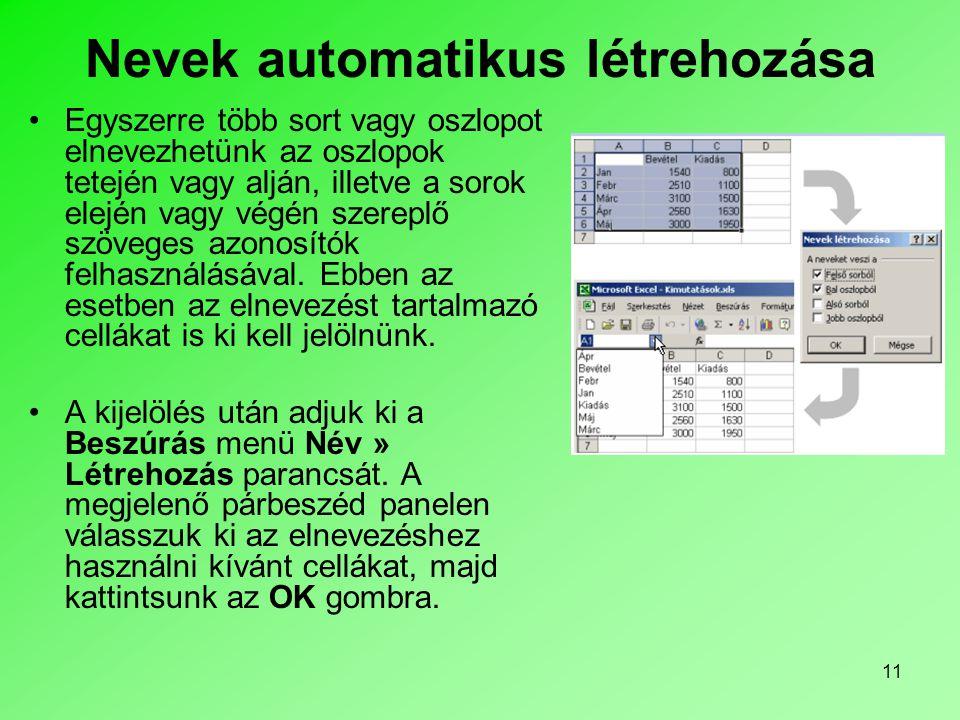 11 Nevek automatikus létrehozása Egyszerre több sort vagy oszlopot elnevezhetünk az oszlopok tetején vagy alján, illetve a sorok elején vagy végén szereplő szöveges azonosítók felhasználásával.