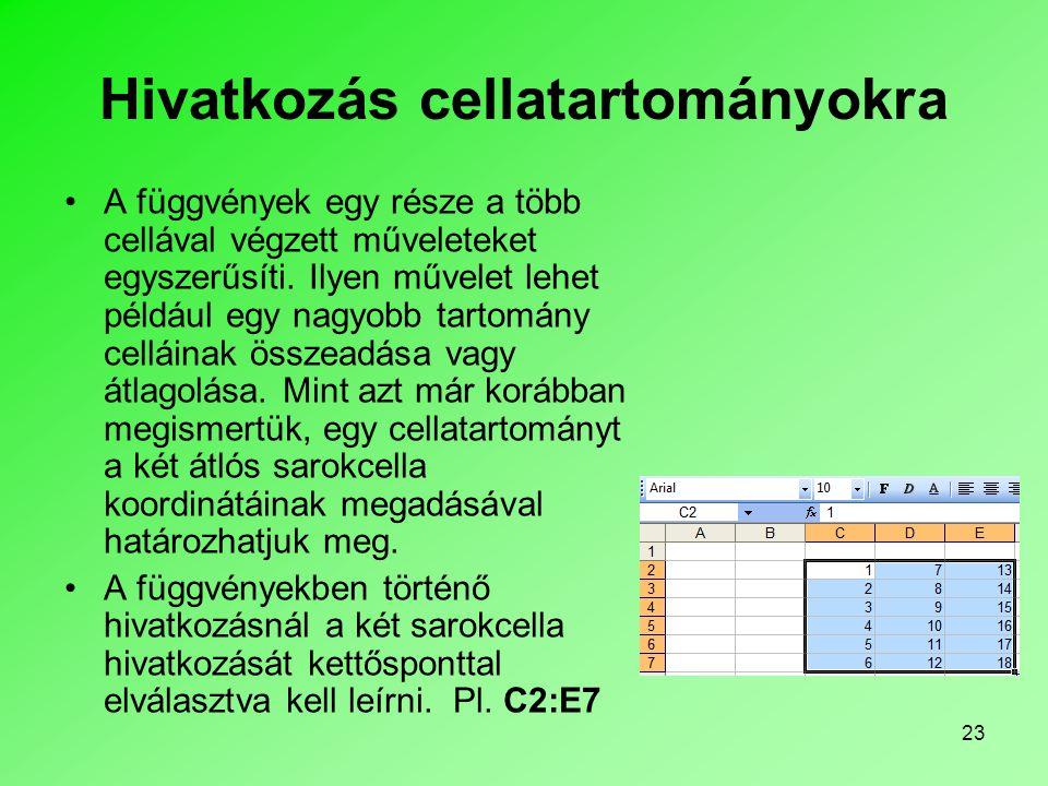 23 Hivatkozás cellatartományokra A függvények egy része a több cellával végzett műveleteket egyszerűsíti.