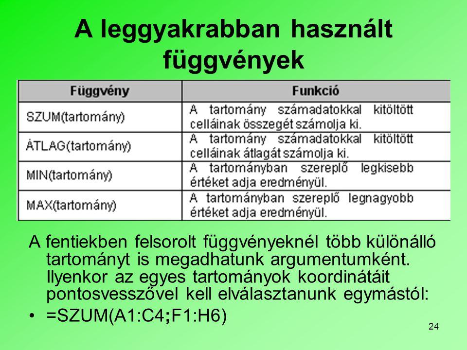 24 A leggyakrabban használt függvények A fentiekben felsorolt függvényeknél több különálló tartományt is megadhatunk argumentumként.