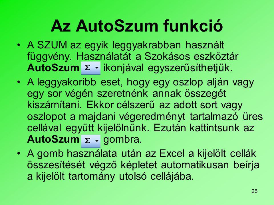 25 Az AutoSzum funkció A SZUM az egyik leggyakrabban használt függvény.