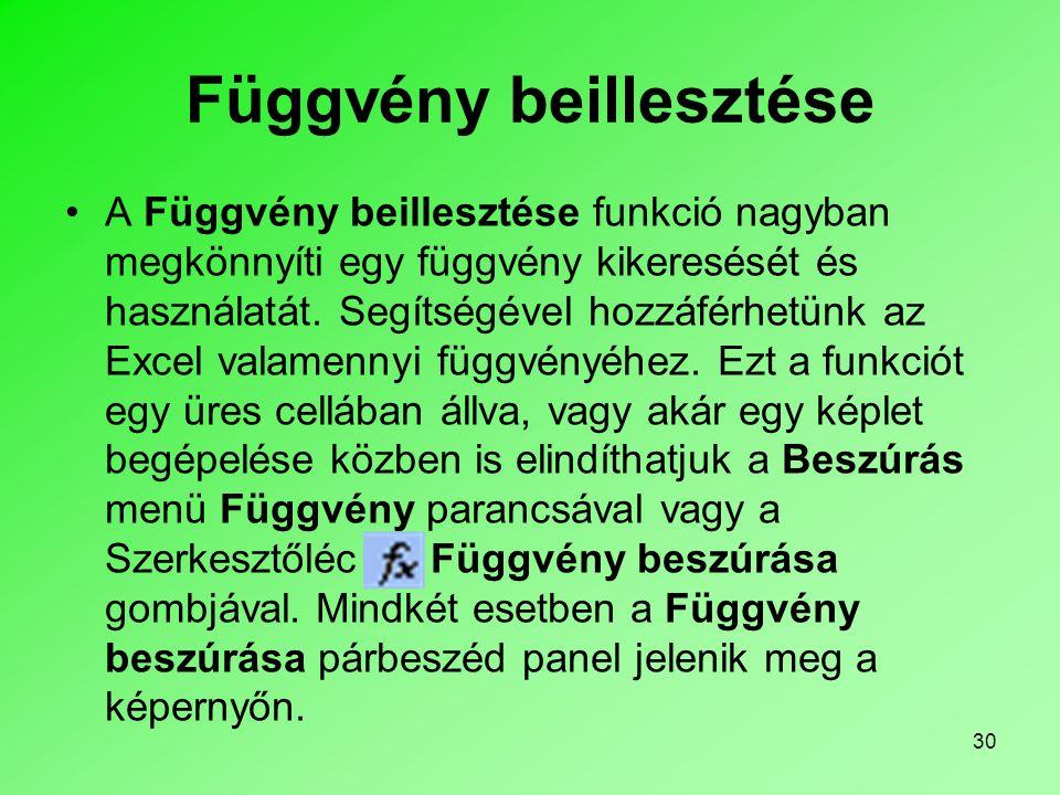 30 Függvény beillesztése A Függvény beillesztése funkció nagyban megkönnyíti egy függvény kikeresését és használatát.