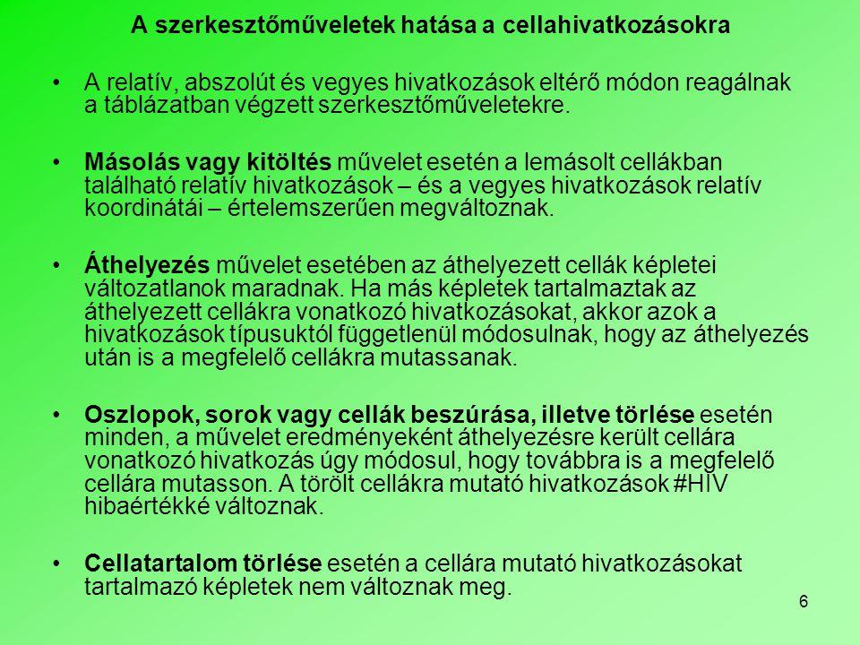 17 Másik munkalapra való hivatkozáshoz — egy munkafüzeten belül — a cellák, illetve tartományok elnevezését is felhasználhatjuk, mert a munkafüzetben definiált neveket bármely munkalapon használhatjuk.