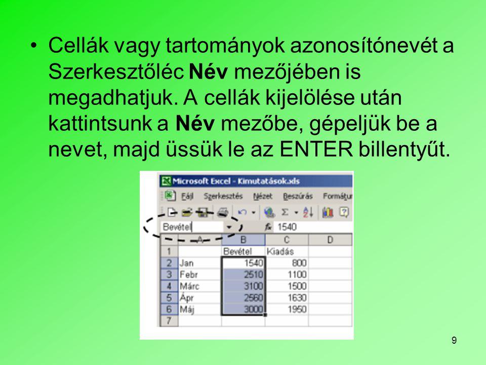 9 Cellák vagy tartományok azonosítónevét a Szerkesztőléc Név mezőjében is megadhatjuk.