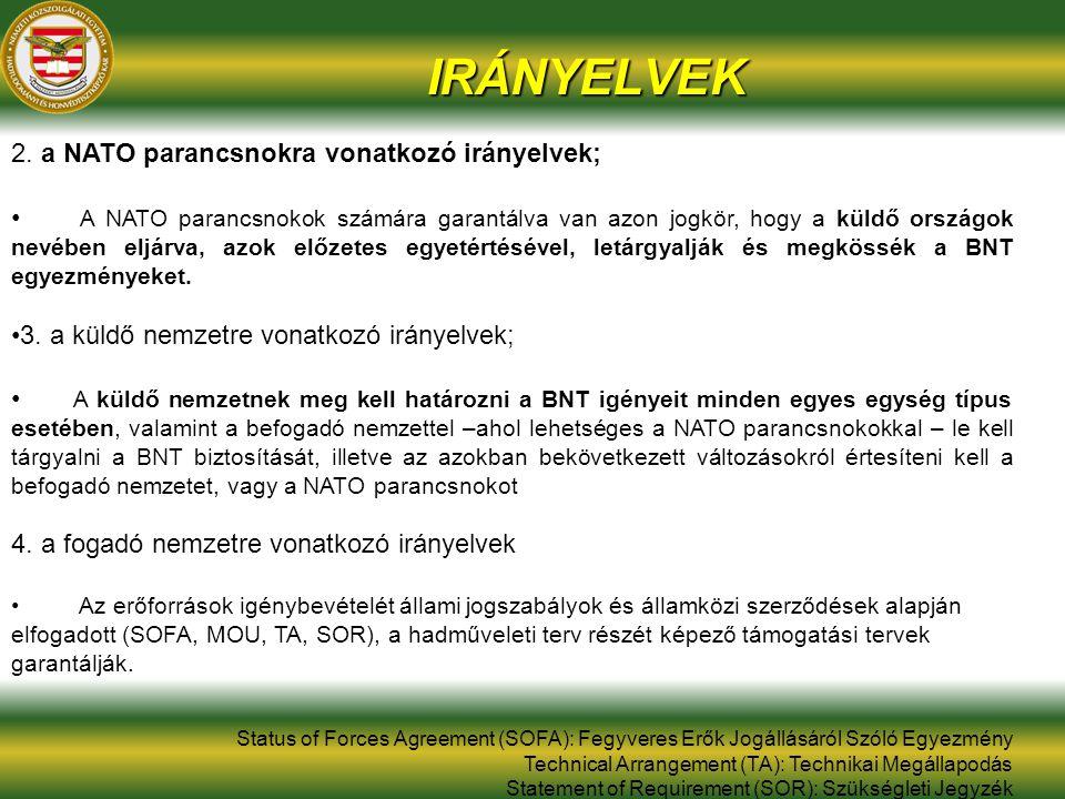 IRÁNYELVEK 2. a NATO parancsnokra vonatkozó irányelvek; A NATO parancsnokok számára garantálva van azon jogkör, hogy a küldő országok nevében eljárva,
